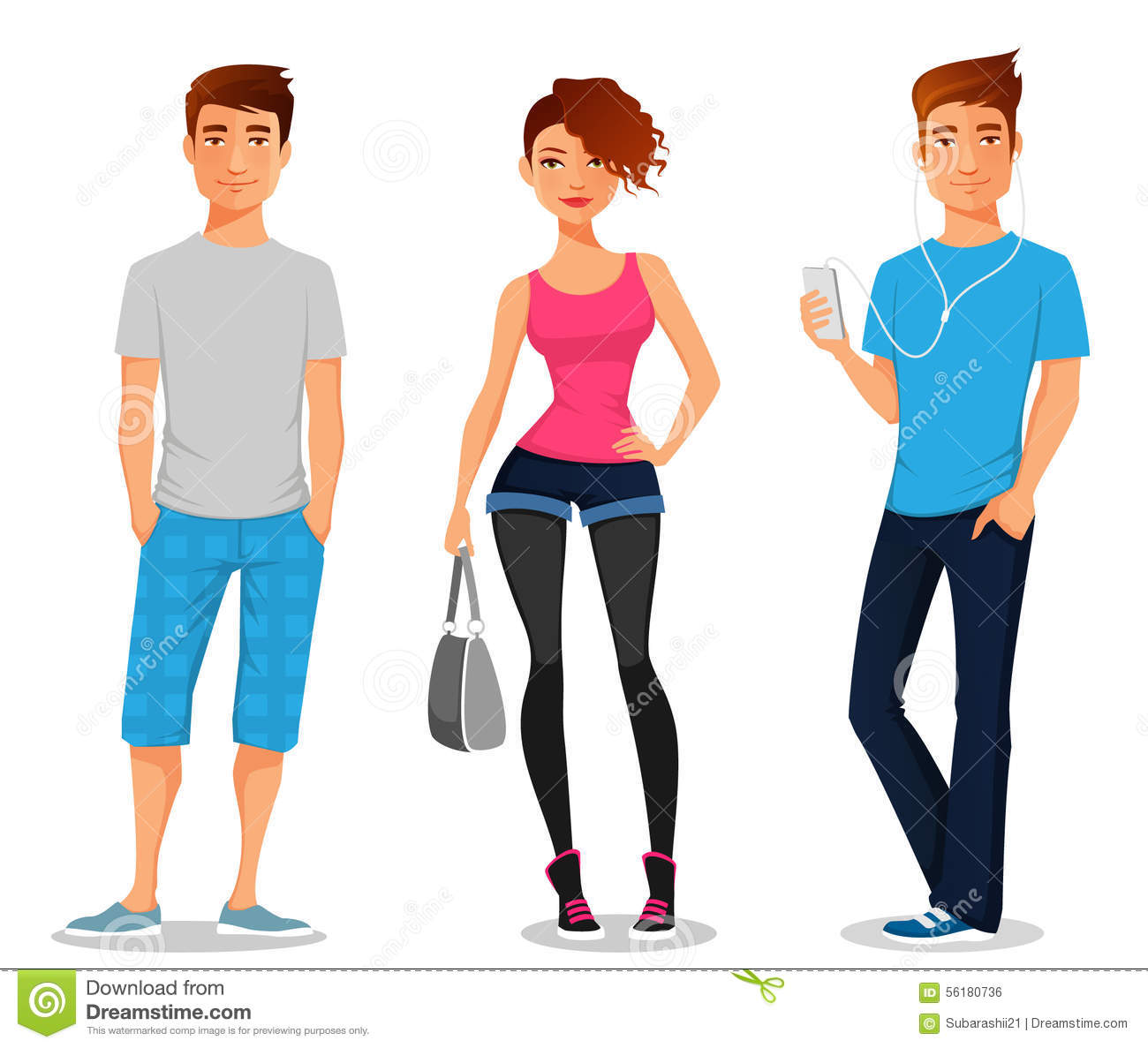 Young People In Casual Clothes Stock Vector Image 56180736