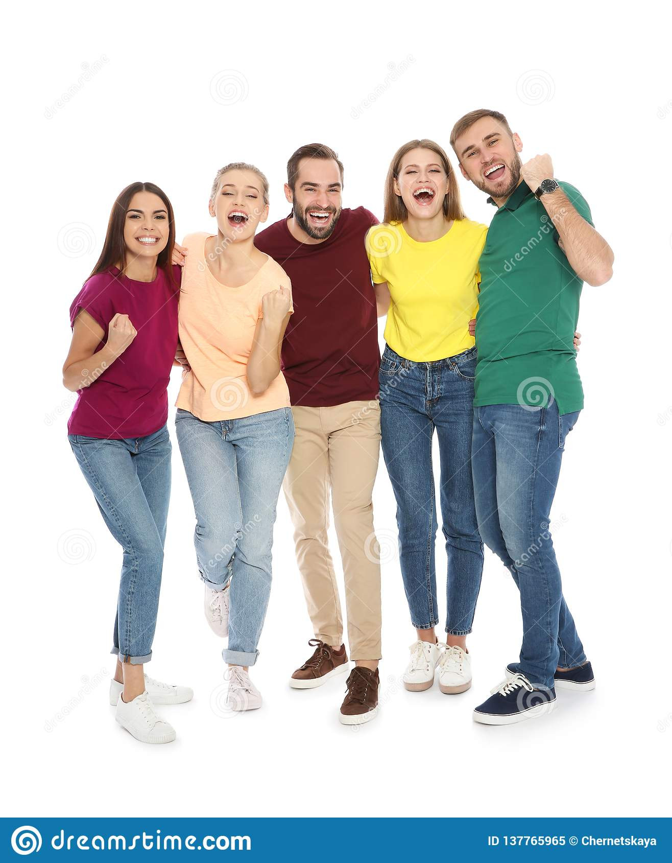 Young People Celebrating Victory On White Stock Image ...