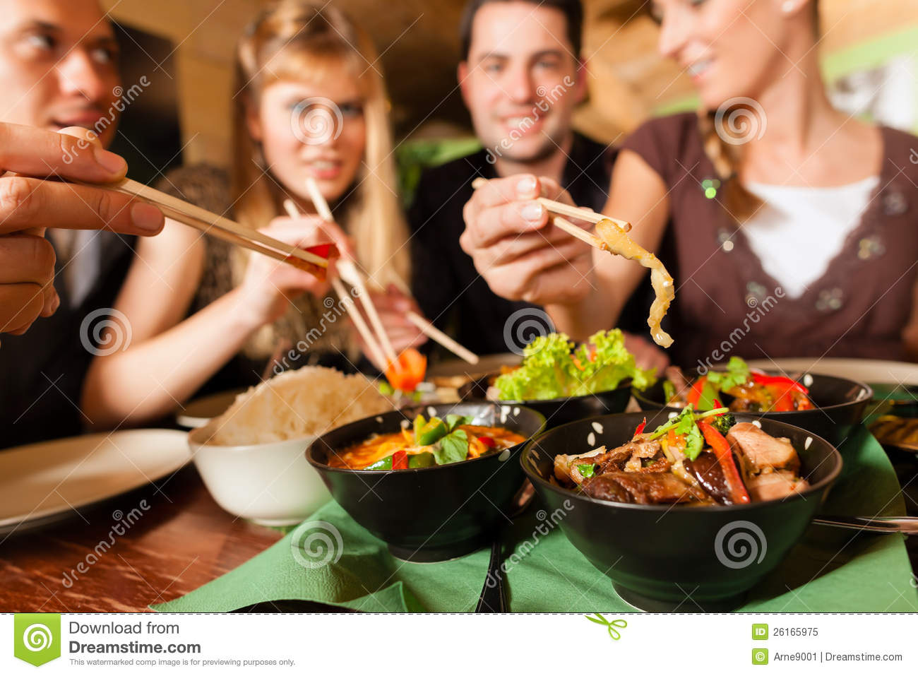 Young People Eating In Thai Restaurant Stock Image Image Of Food