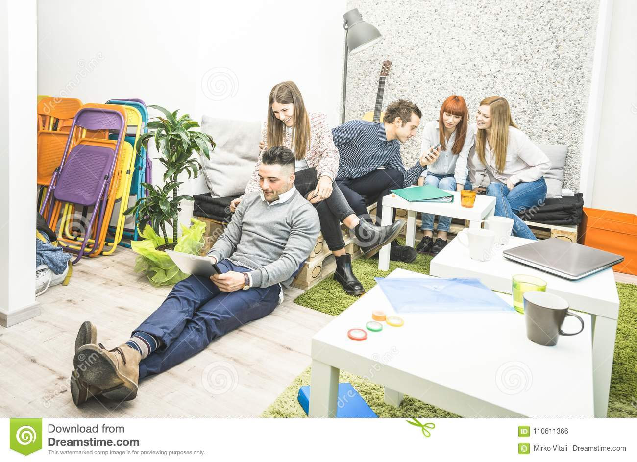Young people employee workers having break in start up office