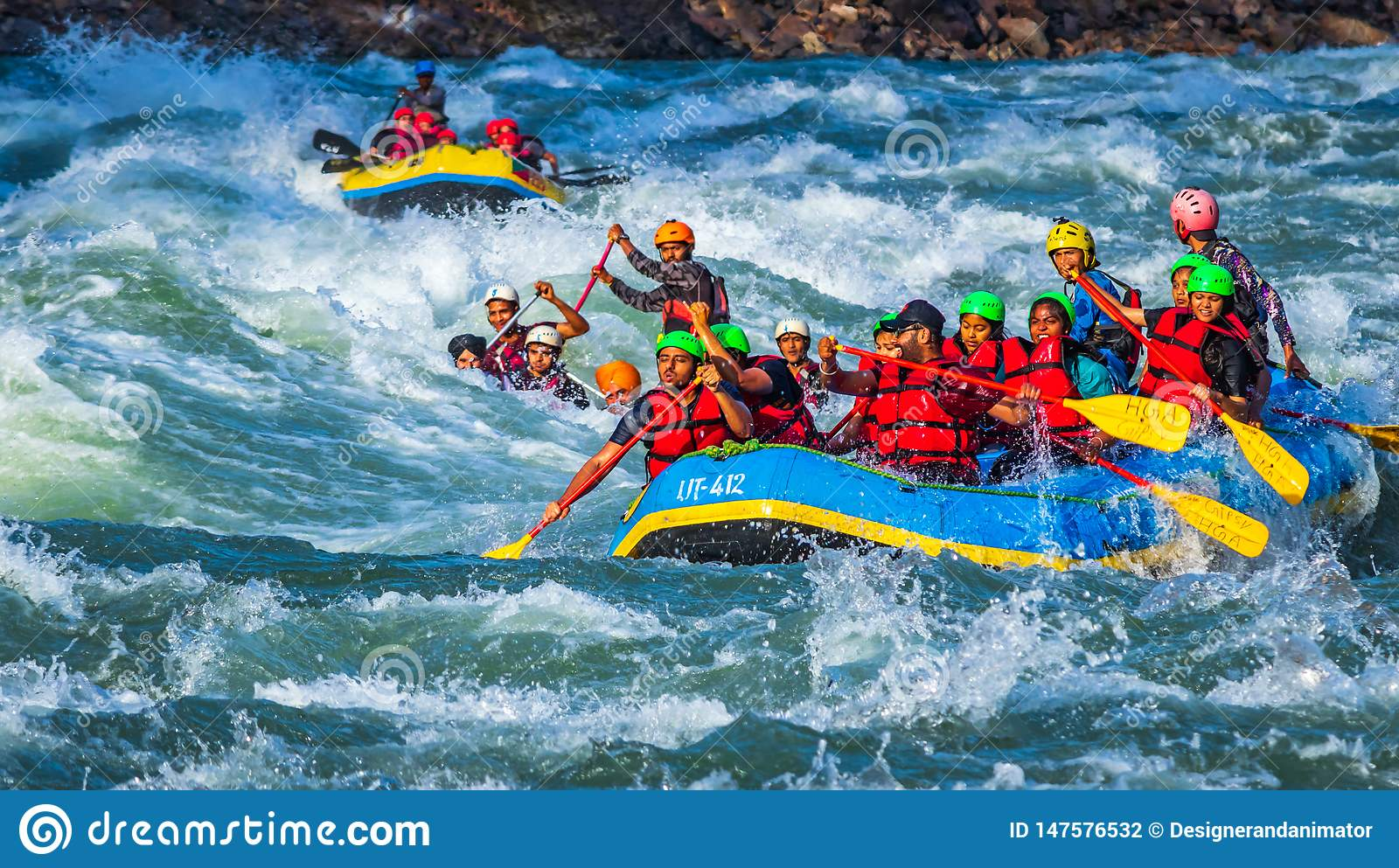 Rishikesh India Young People On Adventure White Water River Rafting Are Enjoying Water Sports In River Ganges Editorial Photography Image Of Raft Sport 147576532
