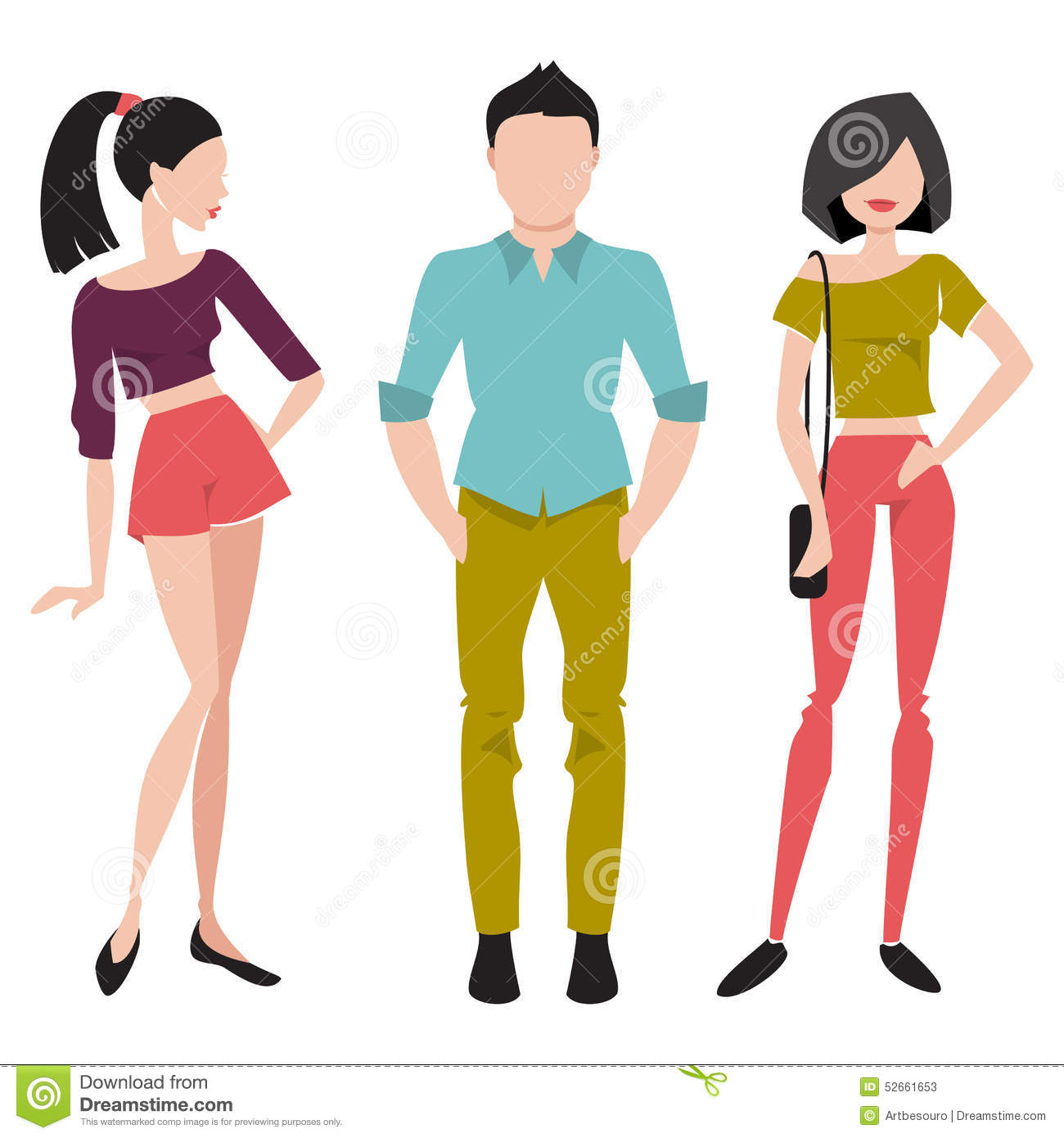 Young People In Fashionable Clothes Flat Vector Illustration Stock Vector Image 52661653