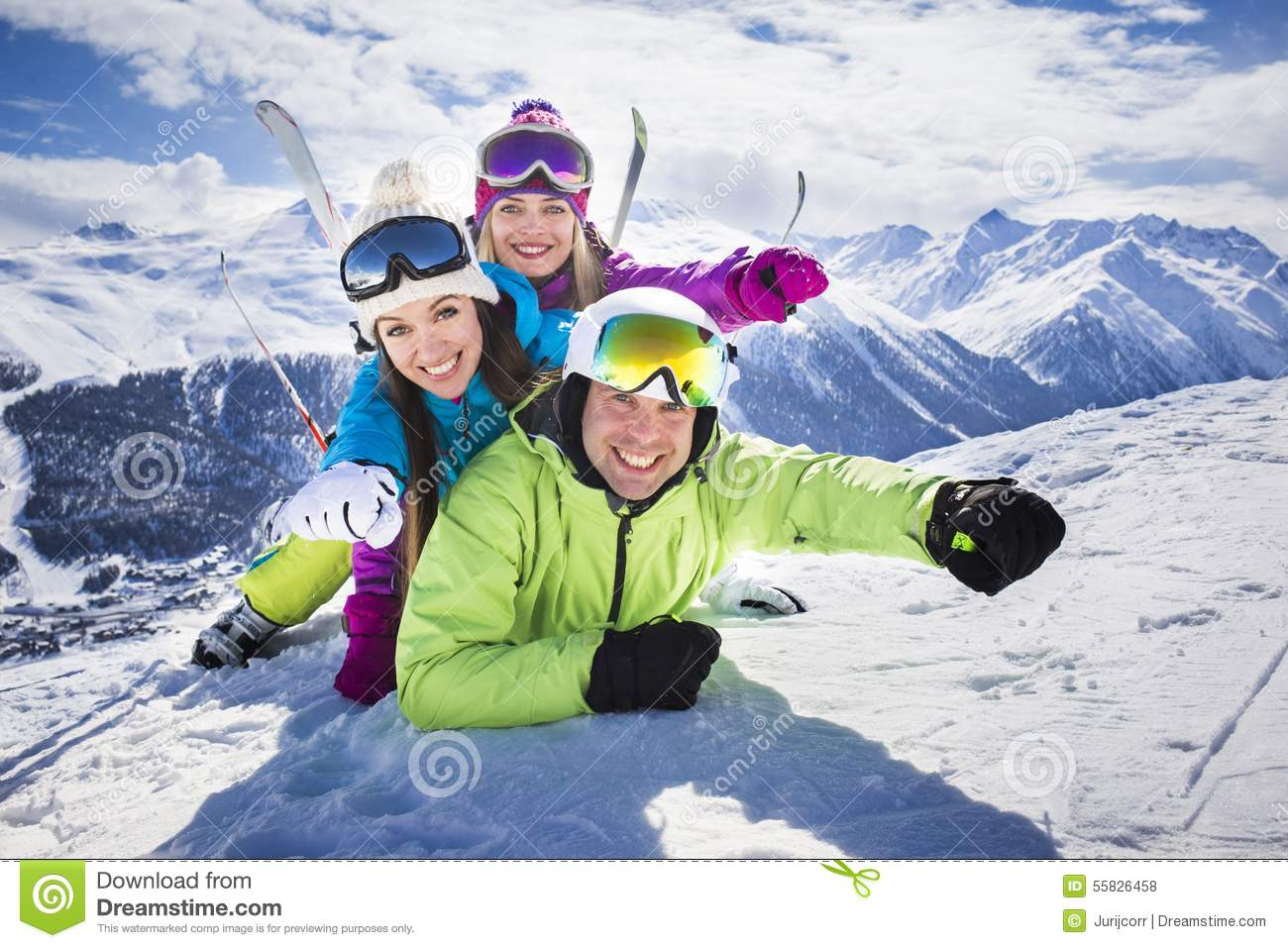 Young People Funny Action Winter Ski Resort Stock Photo