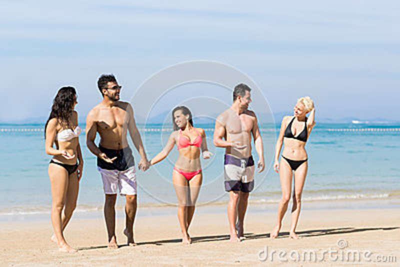 Young People Group On Beach Summer Vacation, Happy Smiling Friends Walking Seaside Sea Ocean