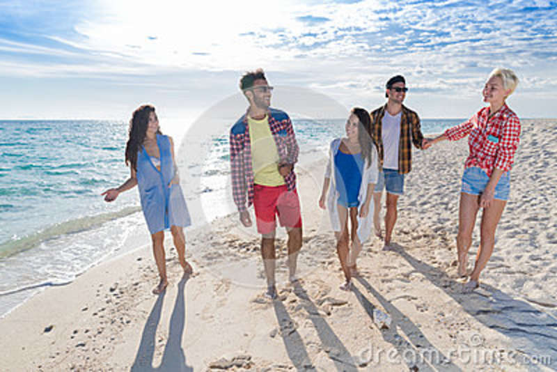 Young People Group On Beach Summer Vacation, Happy Smiling Friends Walking Seaside
