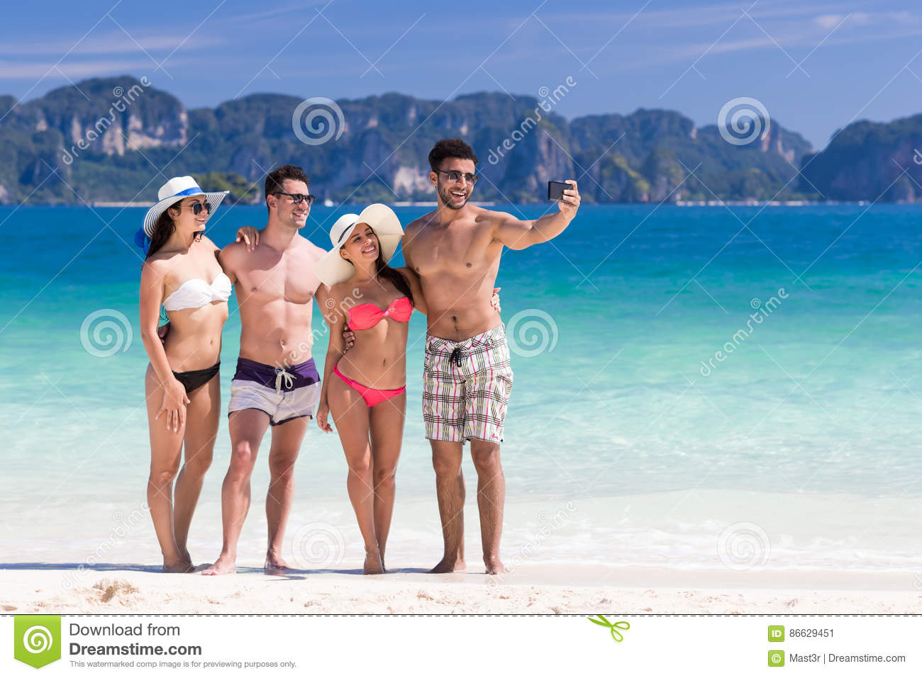 Young People Group On Beach Summer Vacation, Two Couple Happy Smiling Friends Taking Selfie Photo