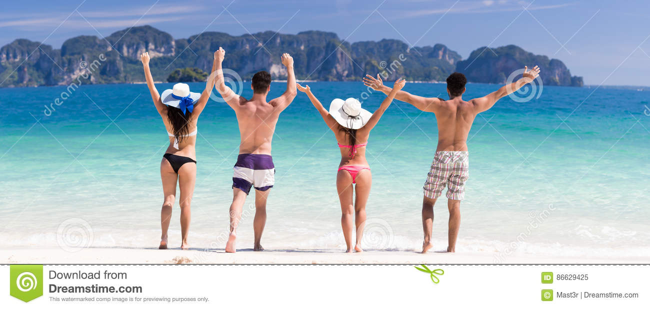 Young People Group On Beach Summer Vacation, Two Couple Raised Hands Friends Seaside