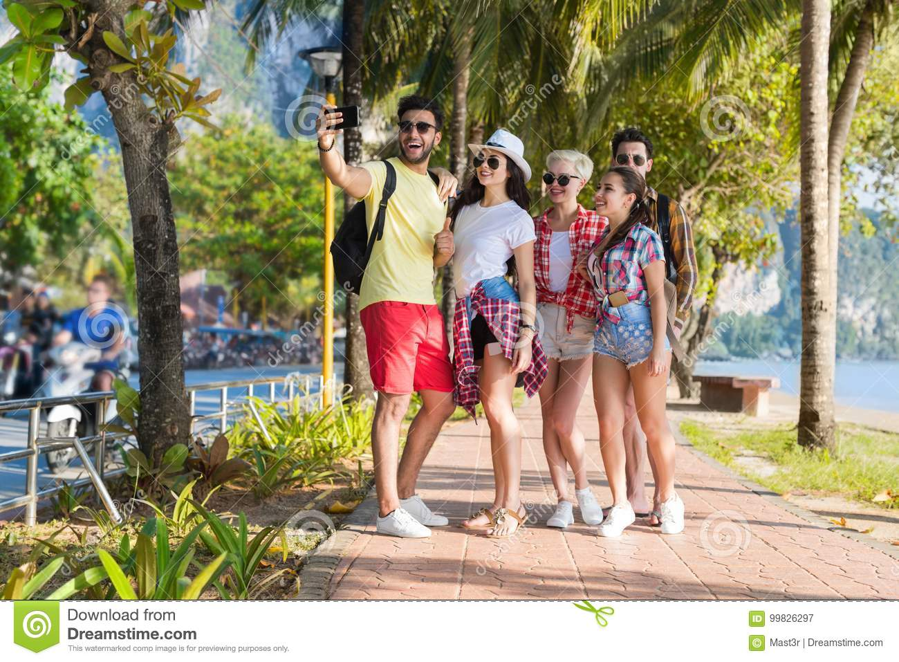 Young People Group On Beach Taking Selfie Photo On Cell Smart Phone Summer Vacation, Happy Smiling Friends Sea Holiday