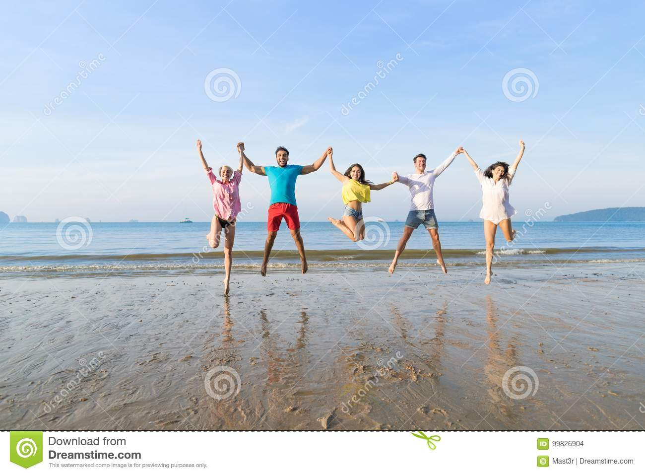 Young People Group Jump On Beach Summer Vacation, Happy Smiling Friends Sea