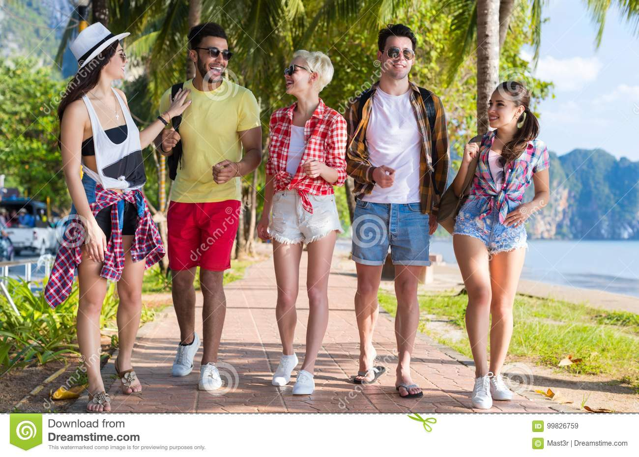 Young People Group Tropical Beach Palm Trees Friends Walking Speaking Holiday Sea Summer Vacation
