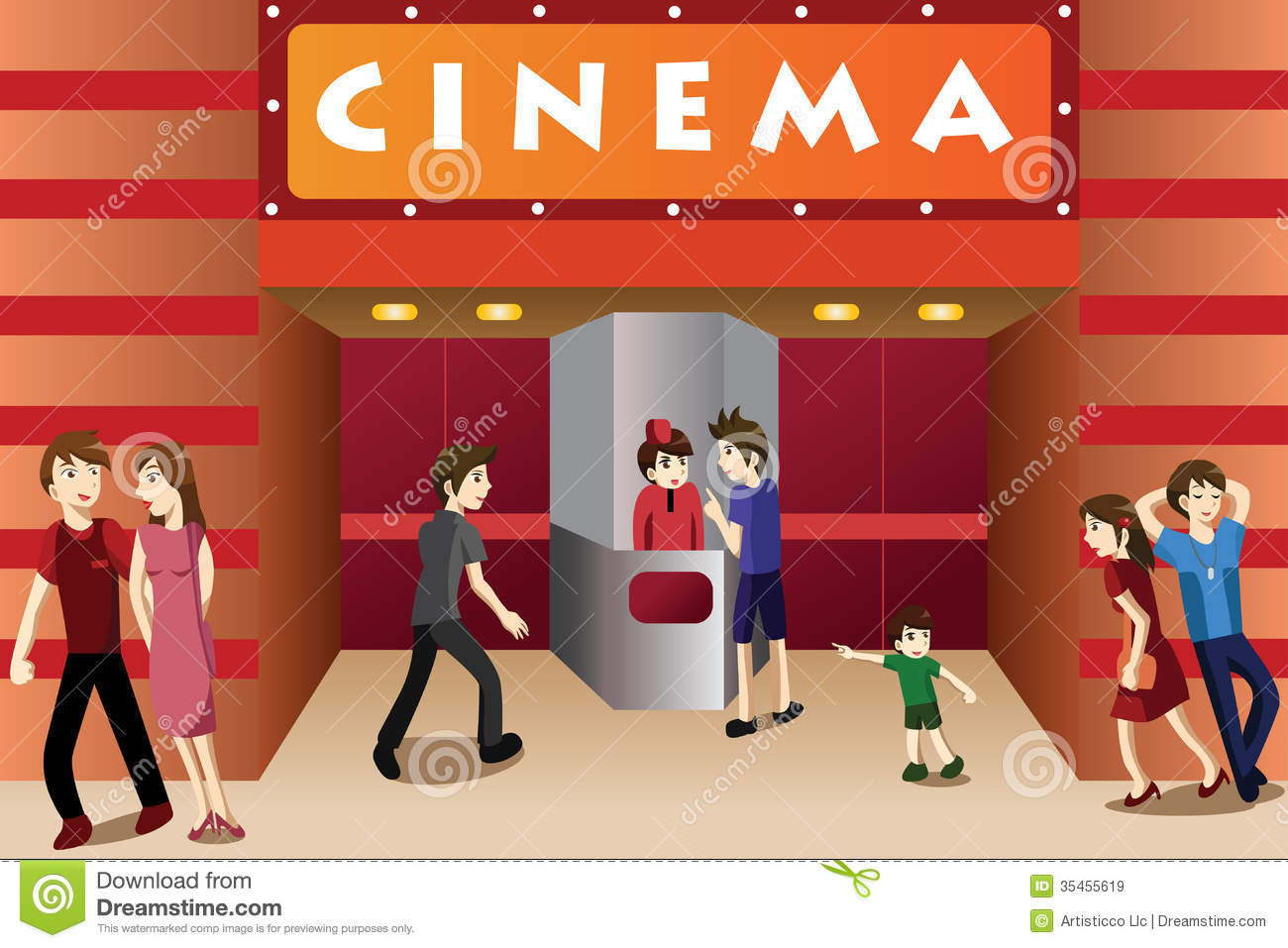Young People Hanging Out Outside A Movie Theater Royalty Free Stock Images - Image ...