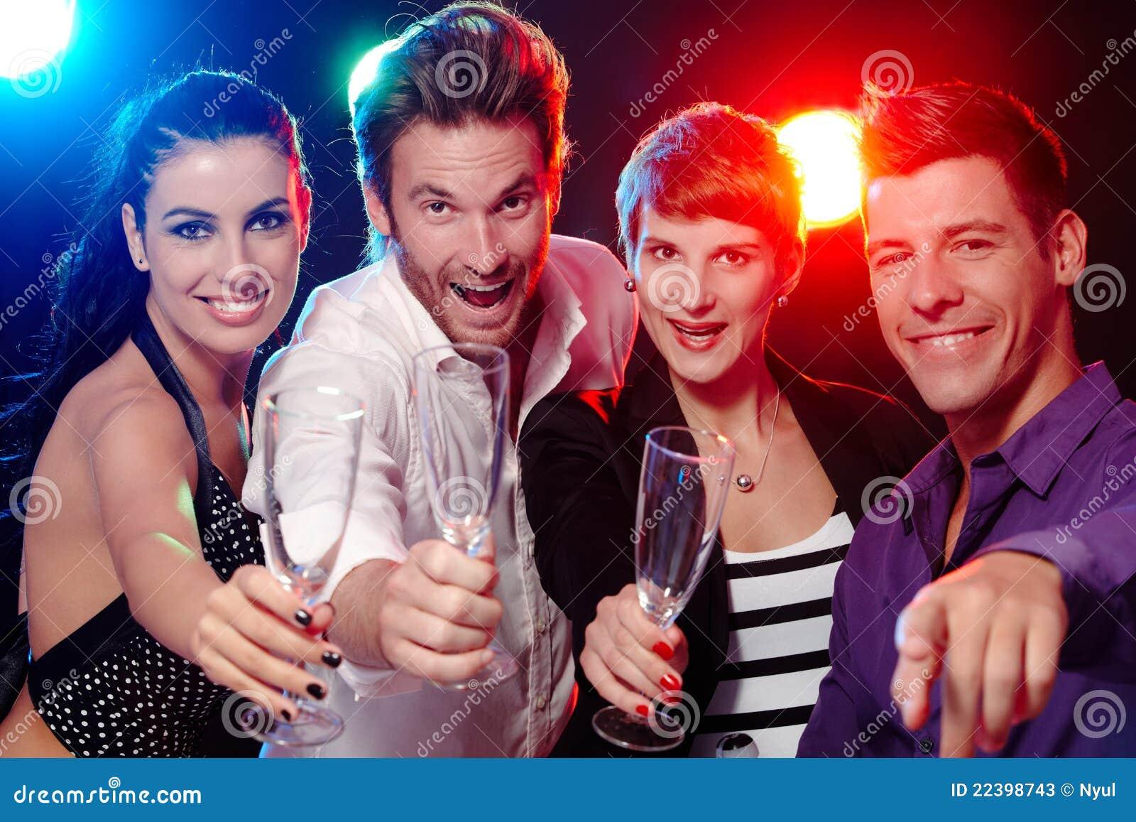 Young People Dancing In Club Or Disco, Men And Women Stock ...  |People Having Fun In A Club