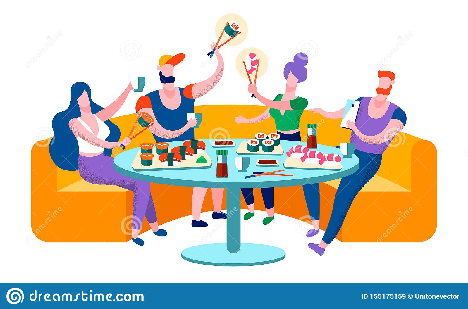Young People Having Meal In Japanese Restaurant Stock Vector Illustration Of Couple Champagne 155175159