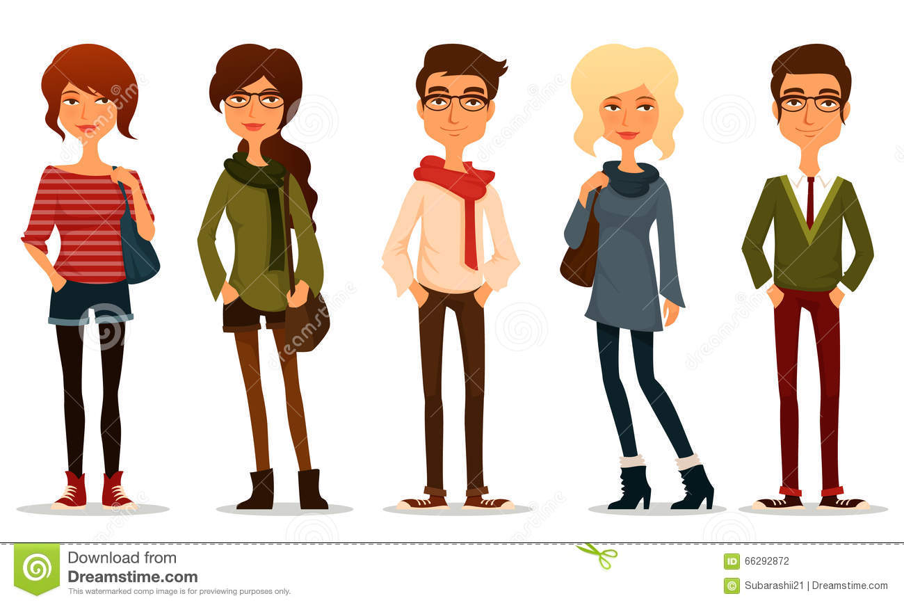 Young People With Hipster Fashion Style Stock Vector Image 66292872