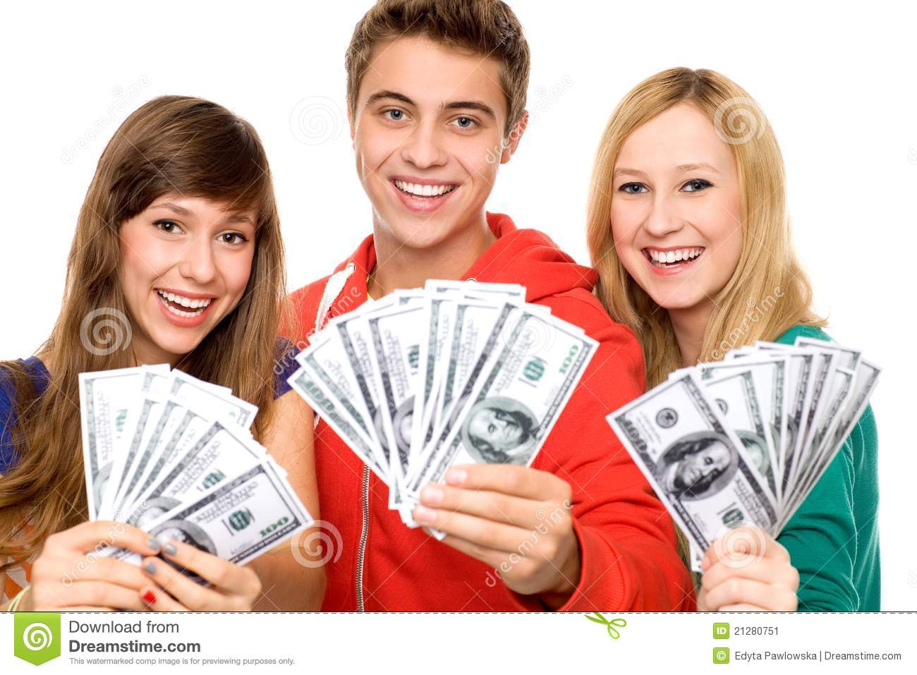 Young People Holding Money Stock Image Of