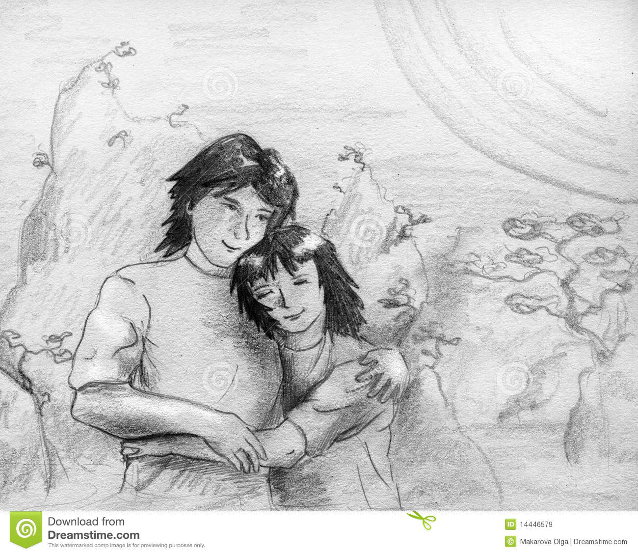 Romantic scene with mountains trees huge sun and a couple boy and girl embracing eath other pencil drawing sketch