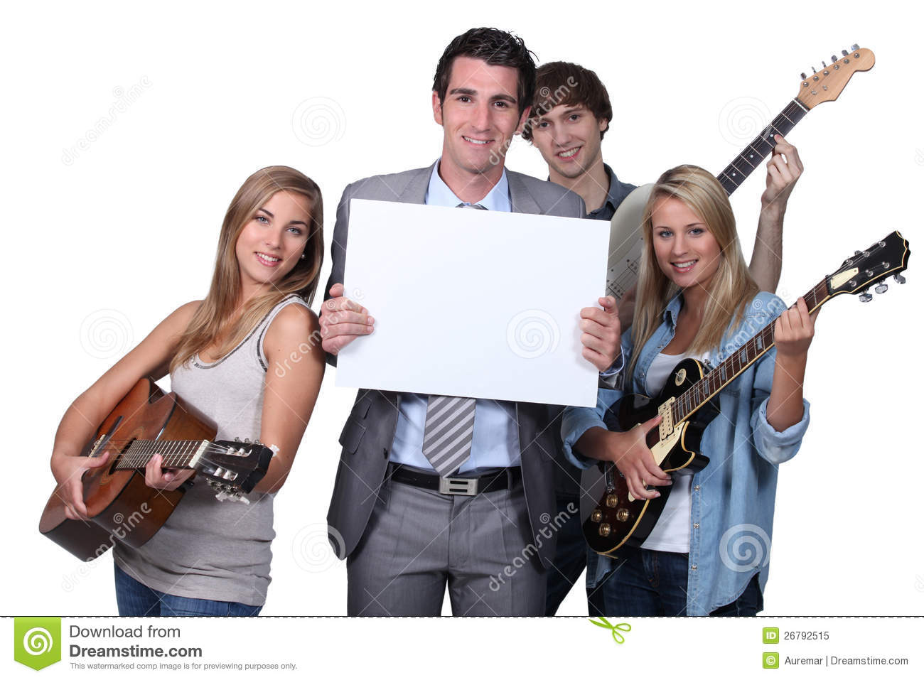 Young People Playing Guitar Stock Image Image Of Studio