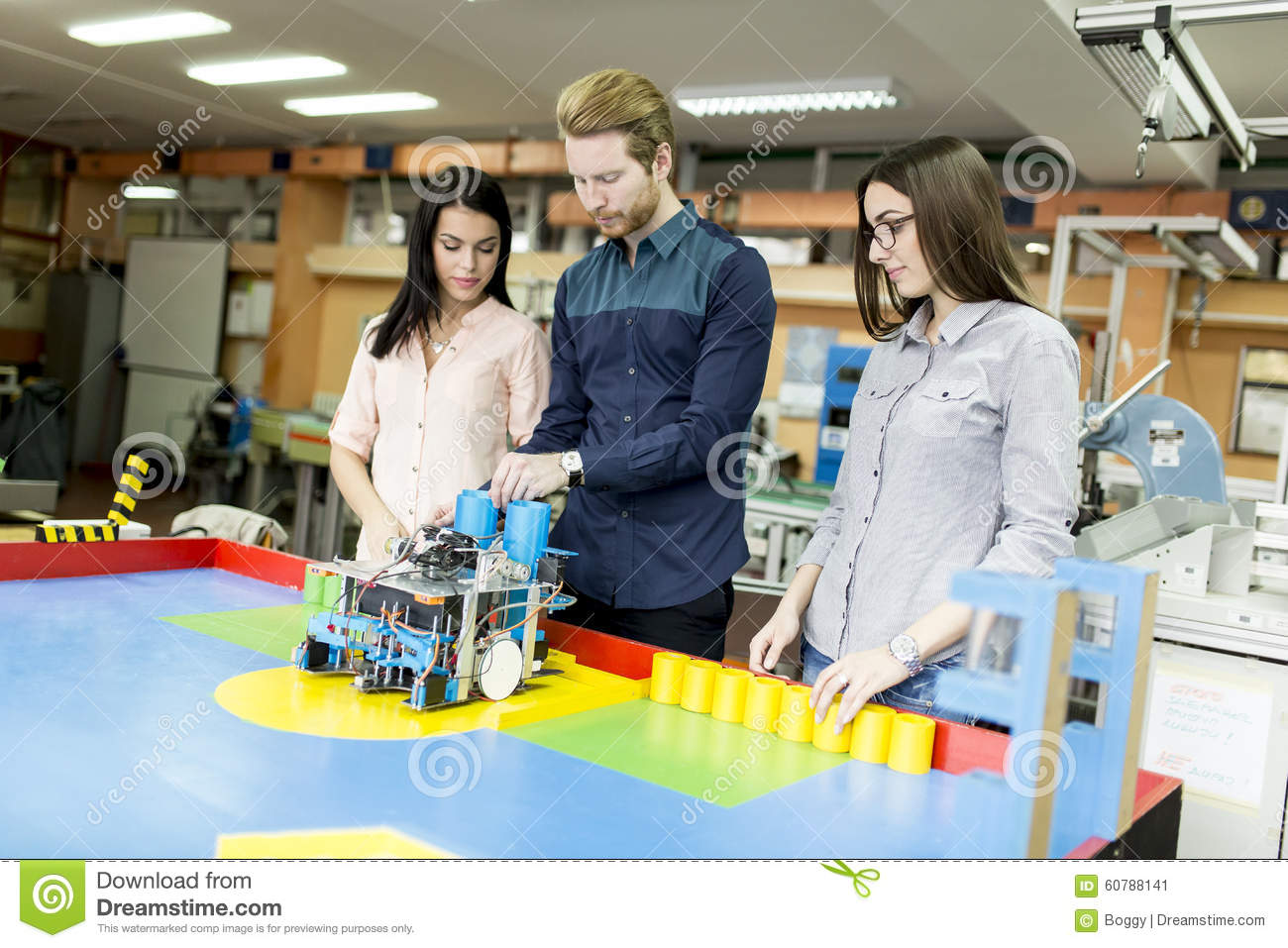 Young People In The Robotics Classroom Stock Image Image Of
