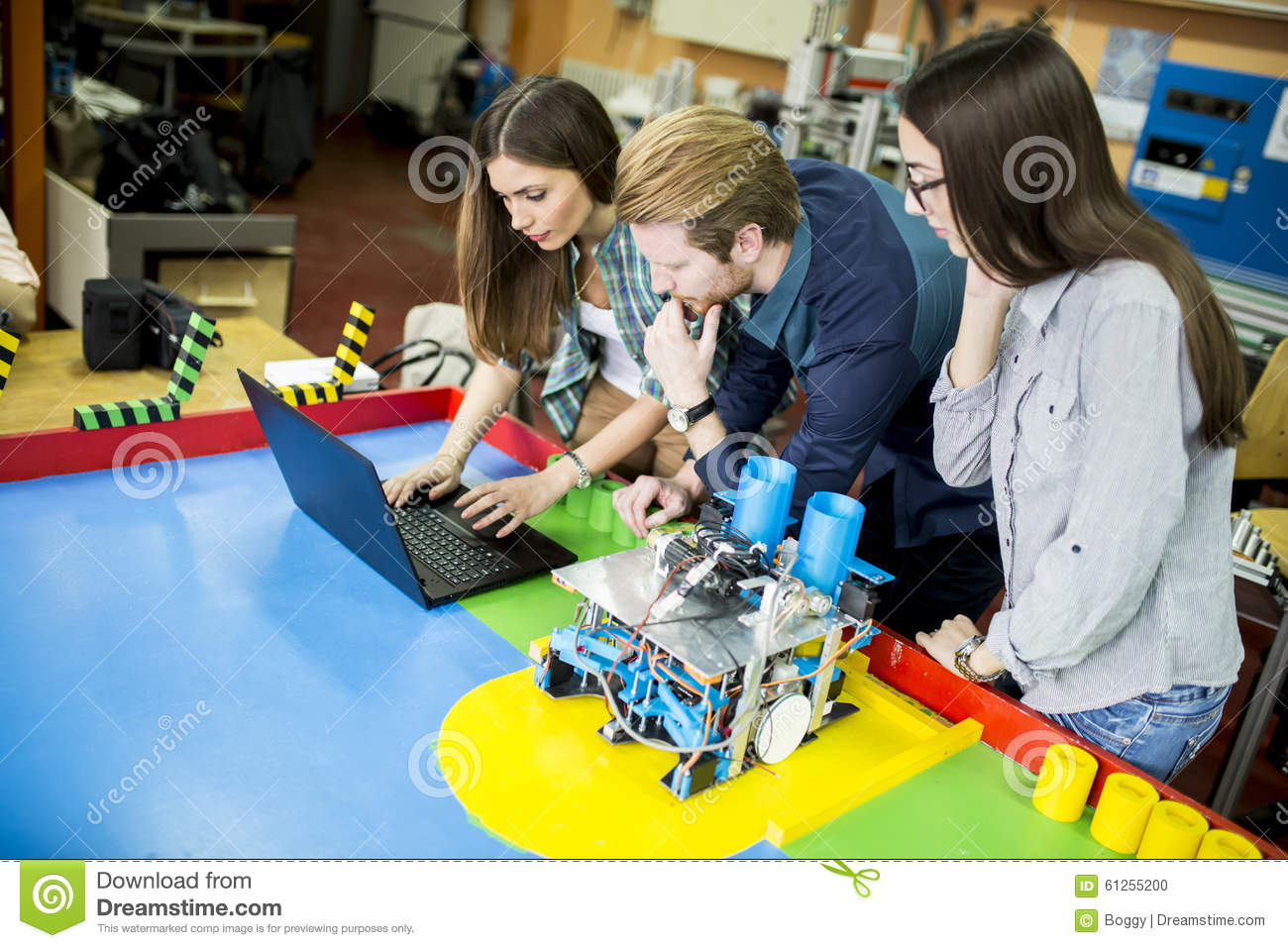 Young People In The Robotics Classroom Stock Photo Image Of