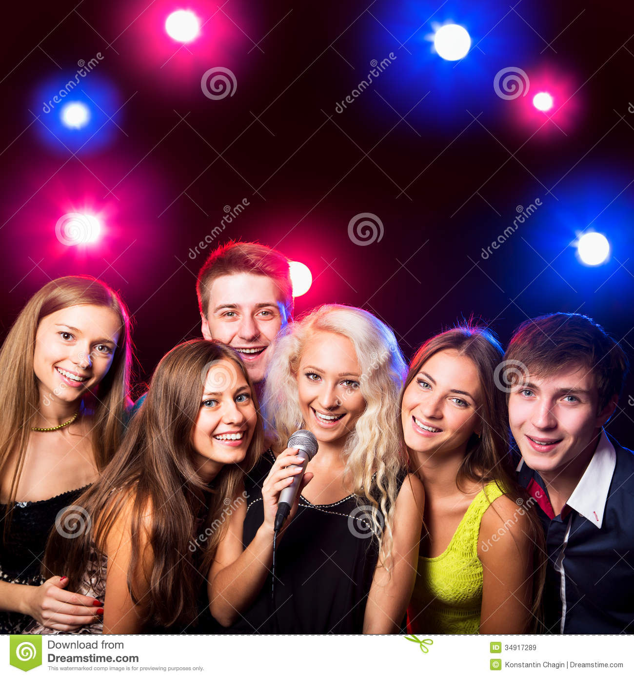Young People Singing At Party Stock Image - Image: 34917289