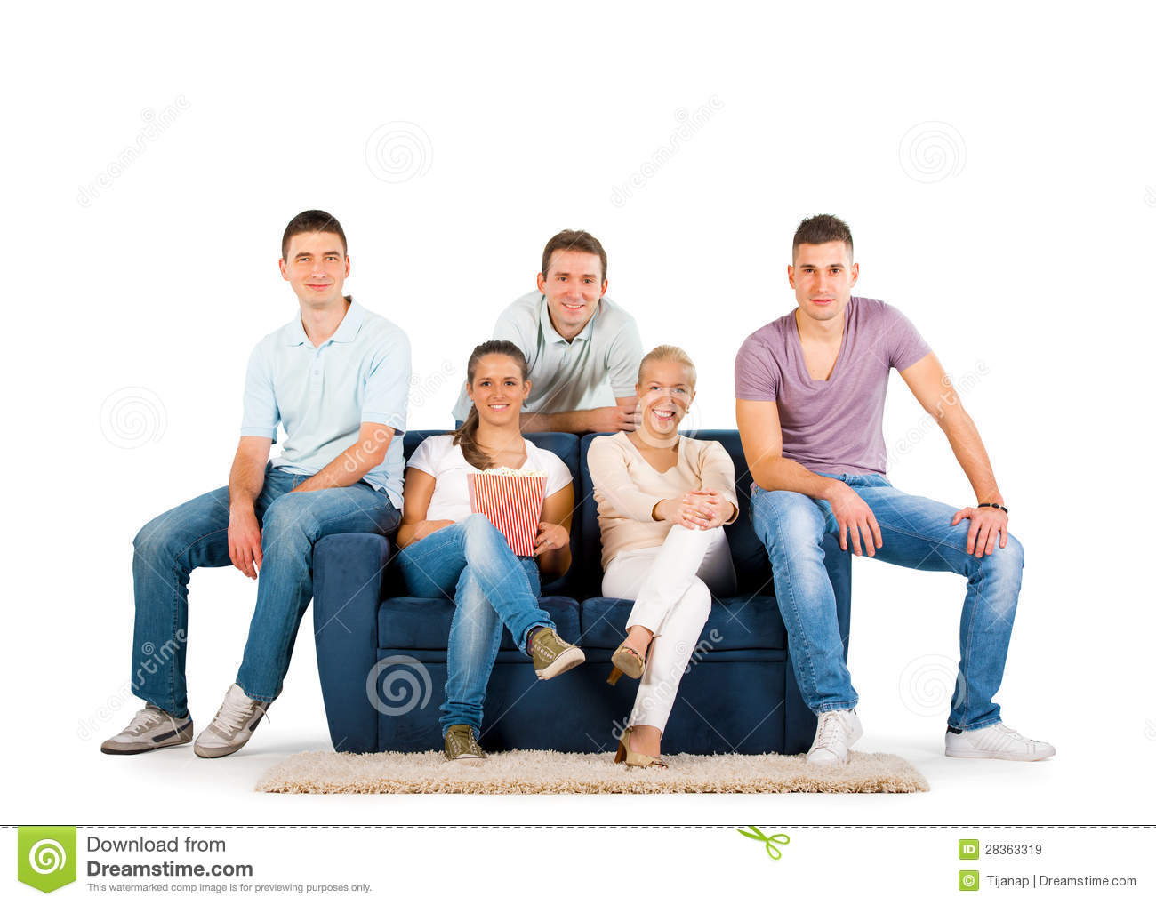 Young People Sitting On A Sofa Smiling Stock Image - Image ...