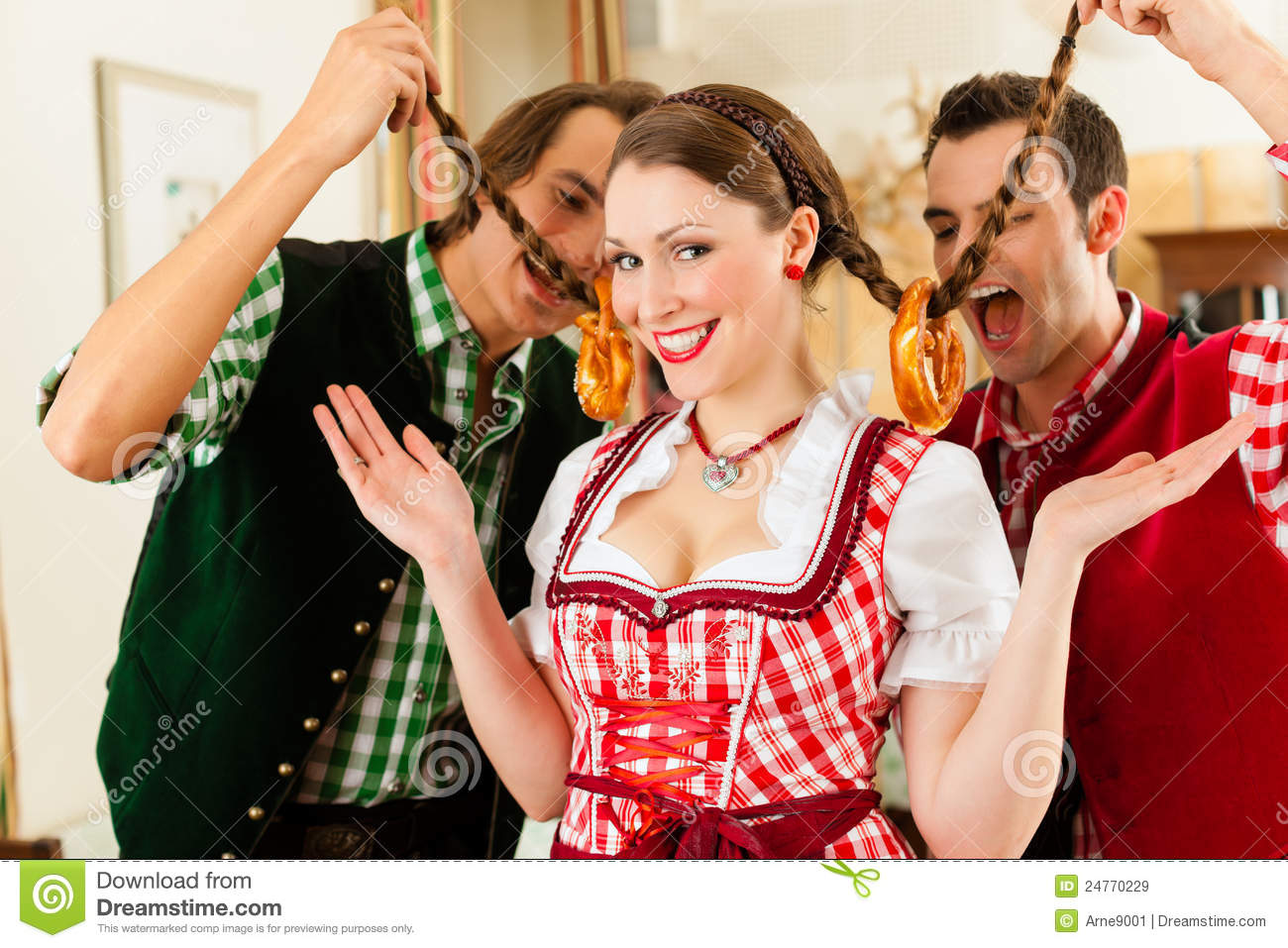 Young People In Traditional Bavarian Tracht Royalty Free