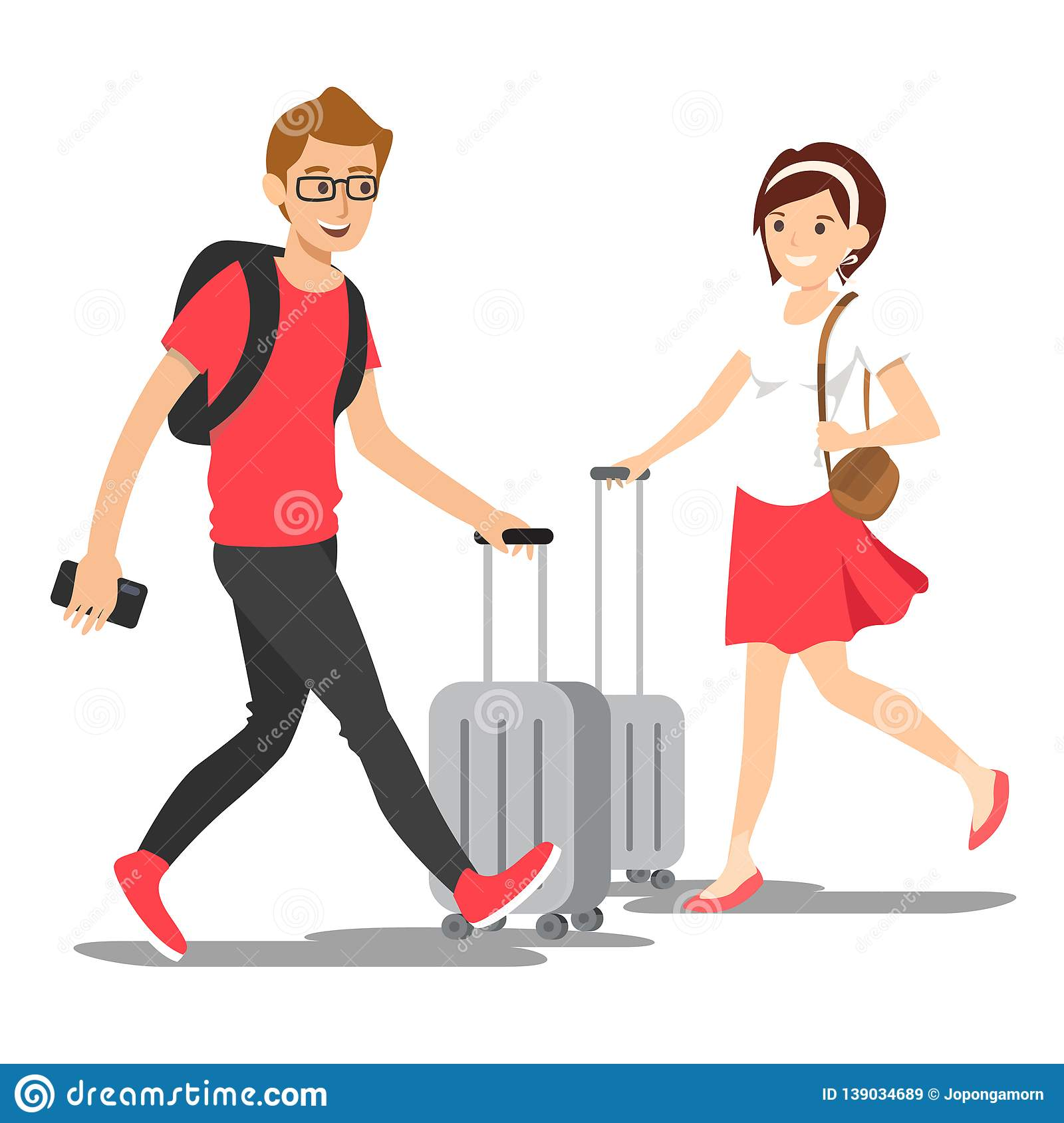 Vector young people with travel bag