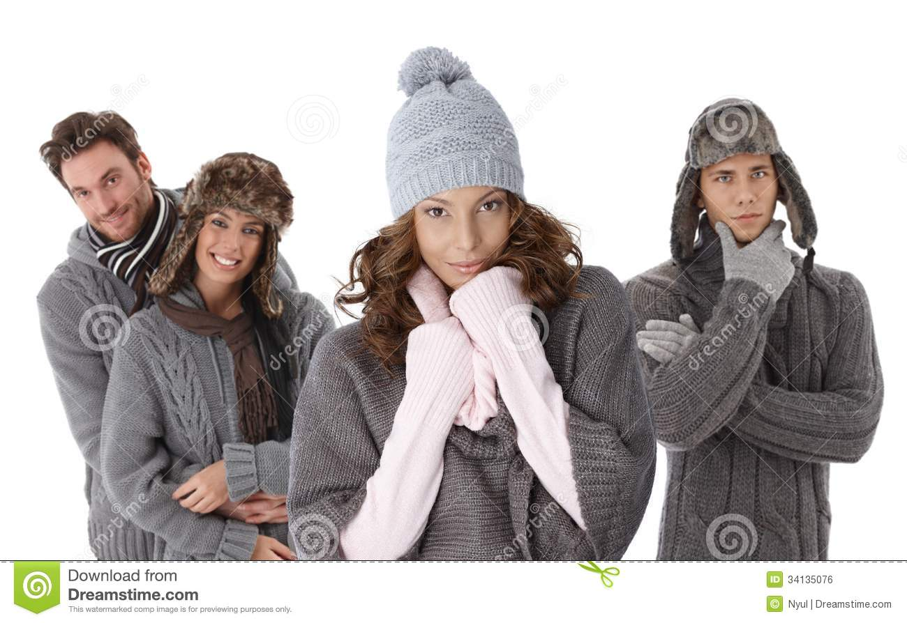 Young People In Warm Clothes Royalty Free Stock Image - Image ...