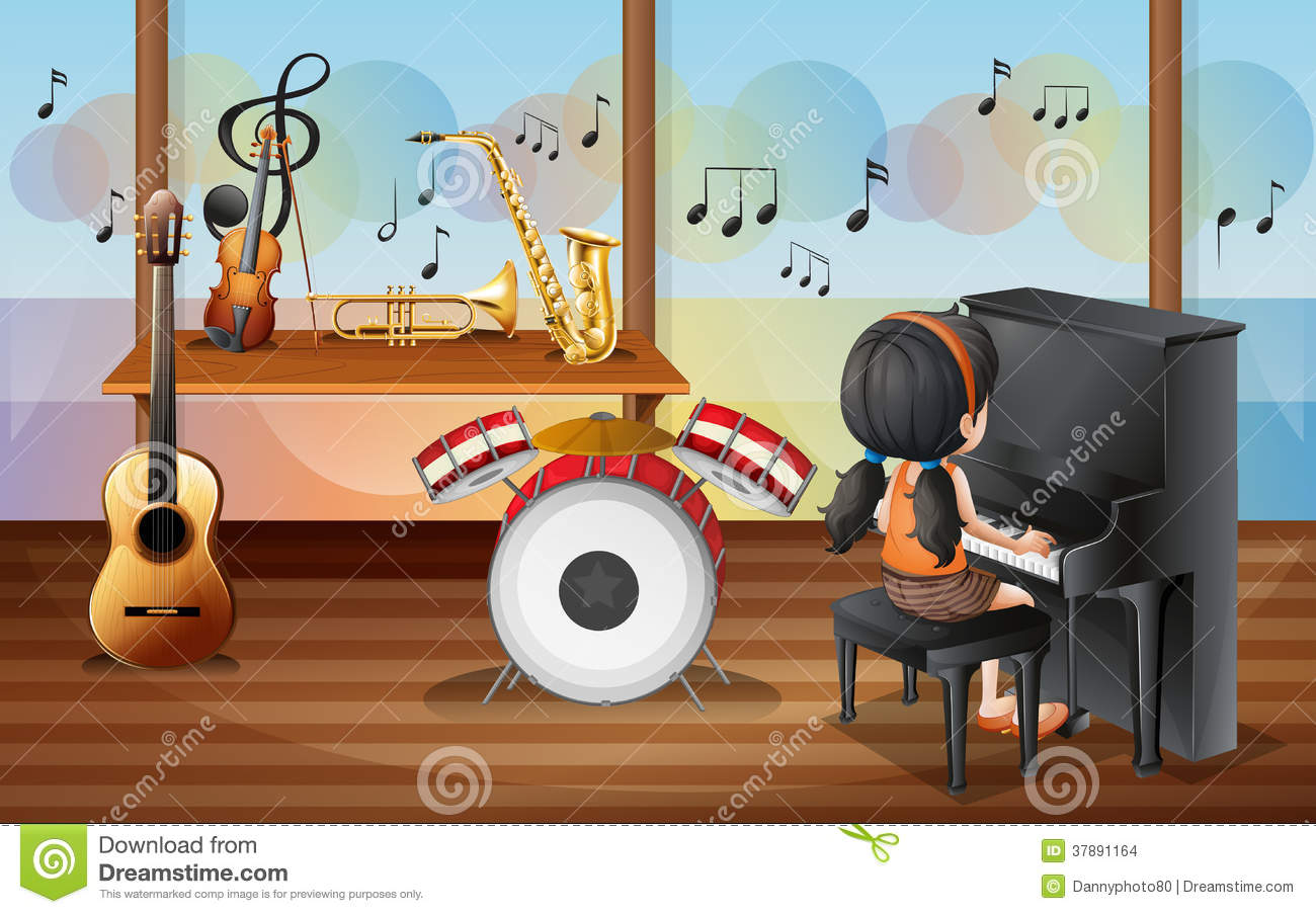 A Young Pianist Inside The Music Room Stock Images - Image ...