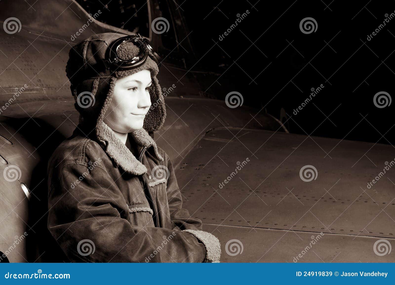 Young Pilot smiling off camera