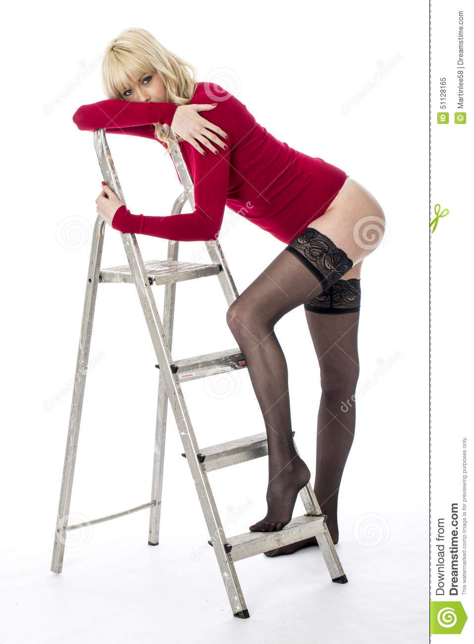 f40193538b1 Young Pin Up Model Climbing Ladder Stock Image - Image of tempting ...