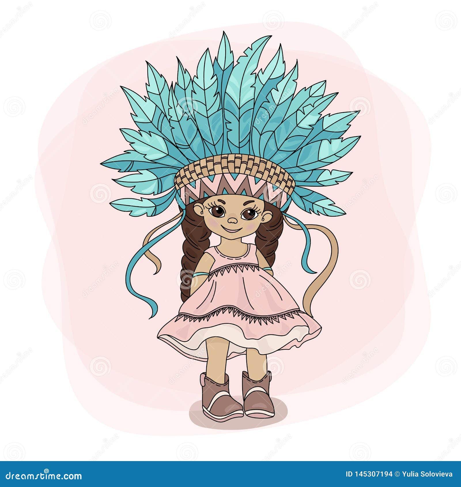 YOUNG POCAHONTAS Indian Princess Hero Vector Illustration Set