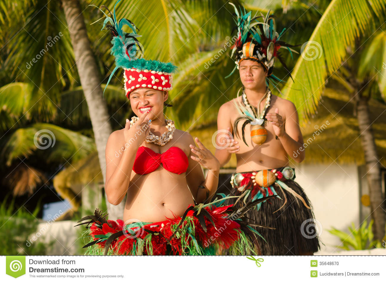 Download Young Polynesian Pacific Island Tahitian Dancers Couple Stock Photo - Image of attraction, festival: 35648670