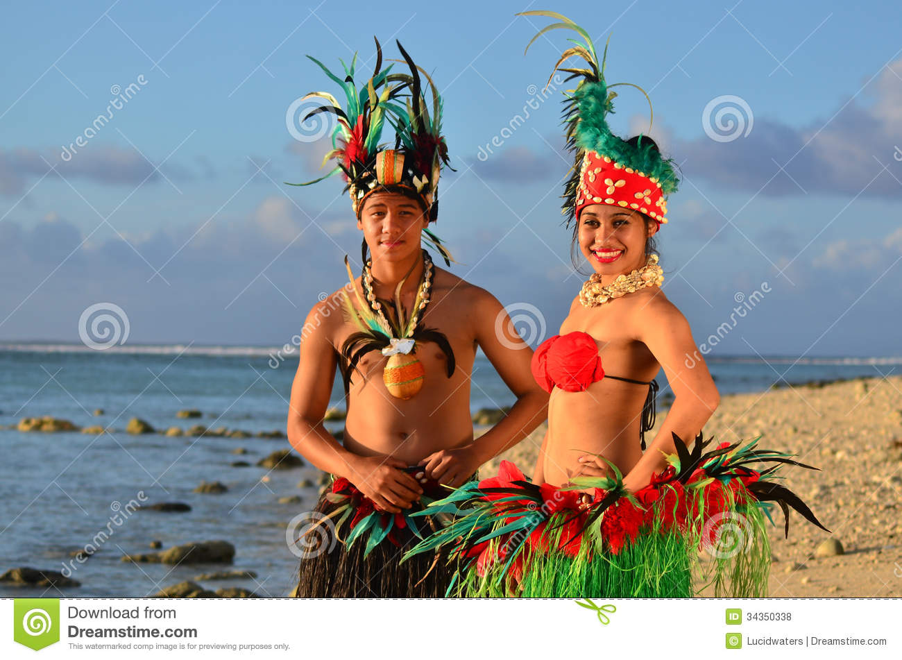Download Young Polynesian Pacific Island Tahitian Dancers Couple Stock Photo - Image of holiday, island: 34350338