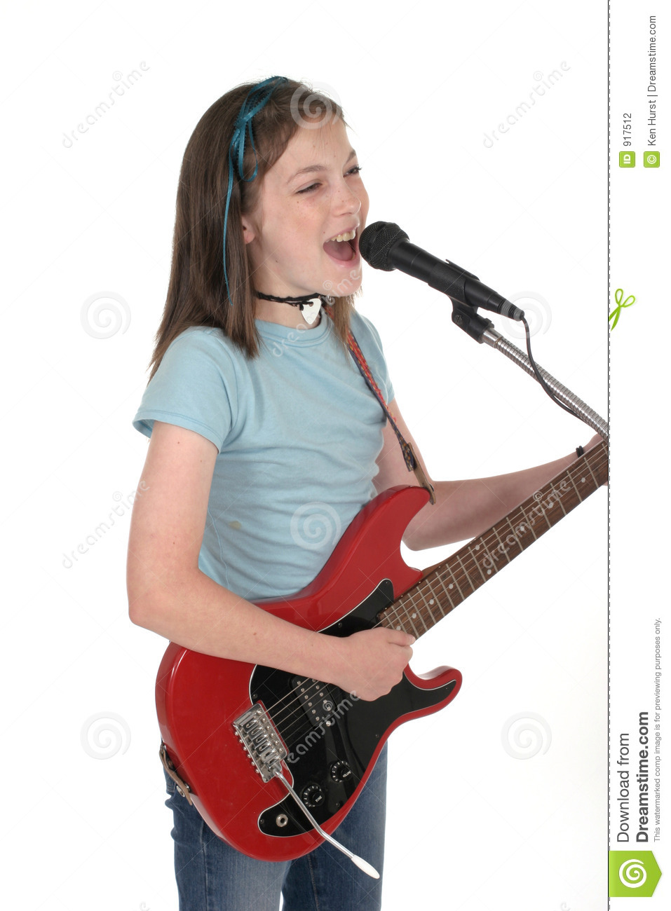 Young Pre Teen Girl Female Woman Torso Vertical Format: Young Pre Teen Girl Singing With Guitar 7 Stock Photo