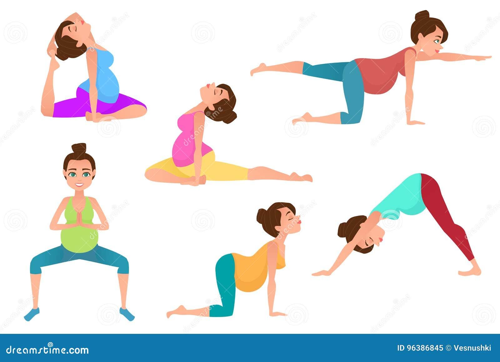 Young Pregnancy Woman Meditation In Yoga Poses Stock Vector Illustration Of Dasa Abdomen 96386845