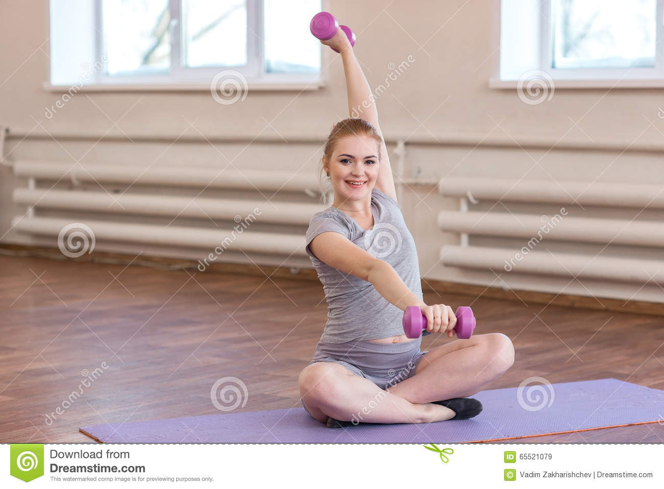 Young Pregnant Woman Doing Gymnastic Exercises Stock Image ...