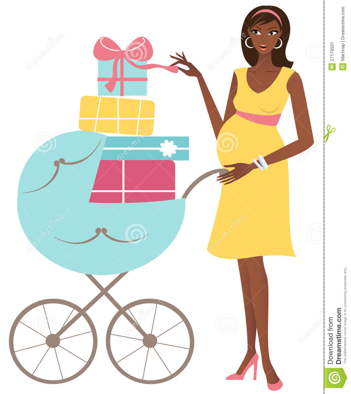 ... african-american pregnant woman with a stroller full of presents Baby Stroller Cartoon