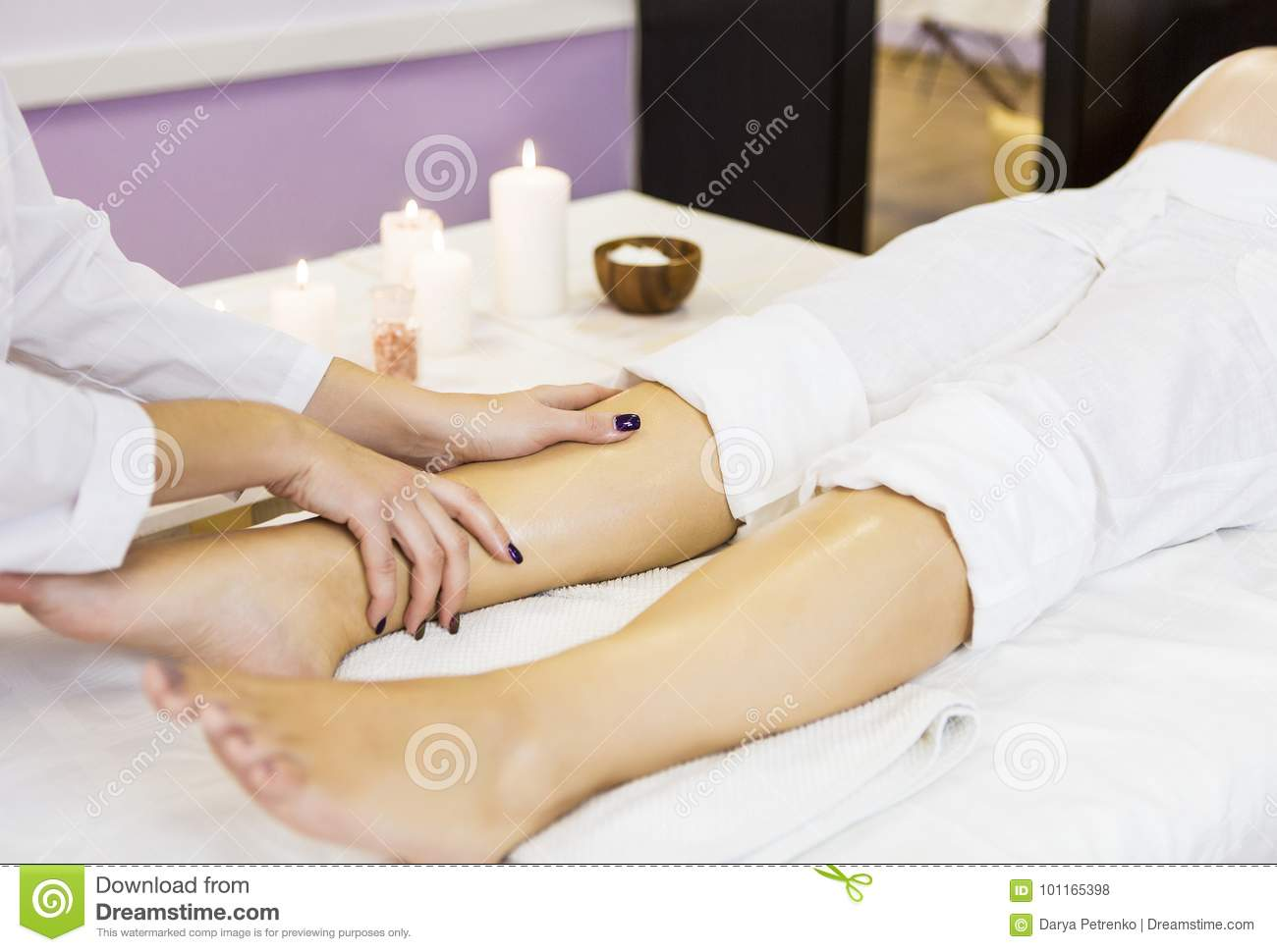 Young Pregnant Woman Have Massage Treatment At Spa Stock ...