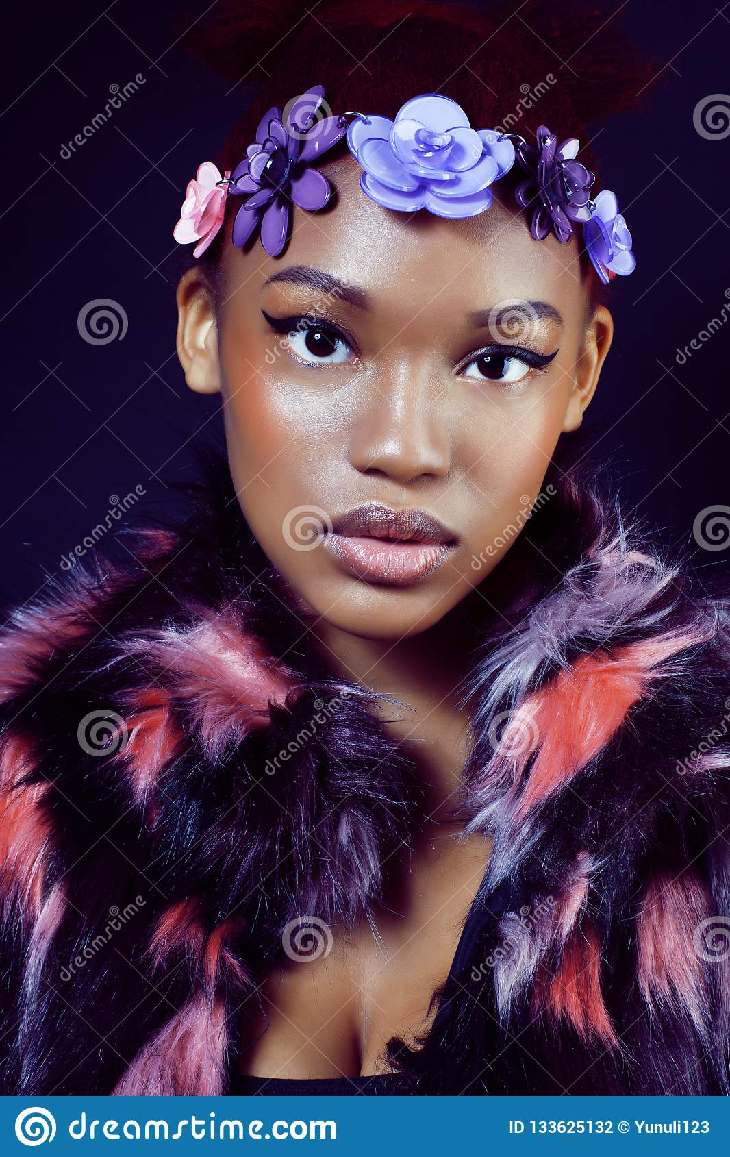 Young Pretty African American Woman In Spotted Fur Coat ...
