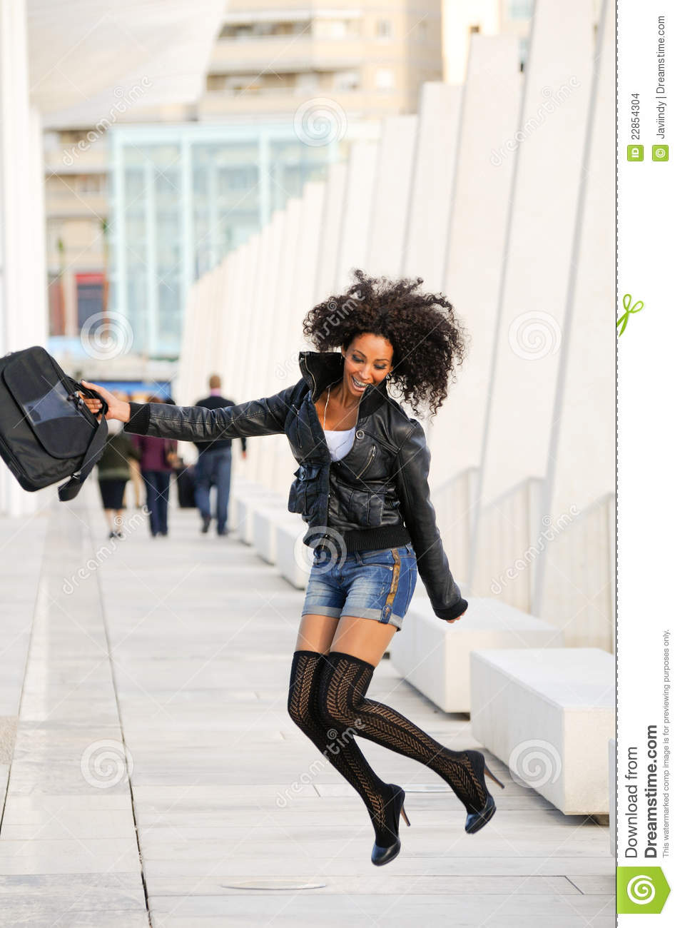 Young Pretty Black Woman Jumping Stock Images Image