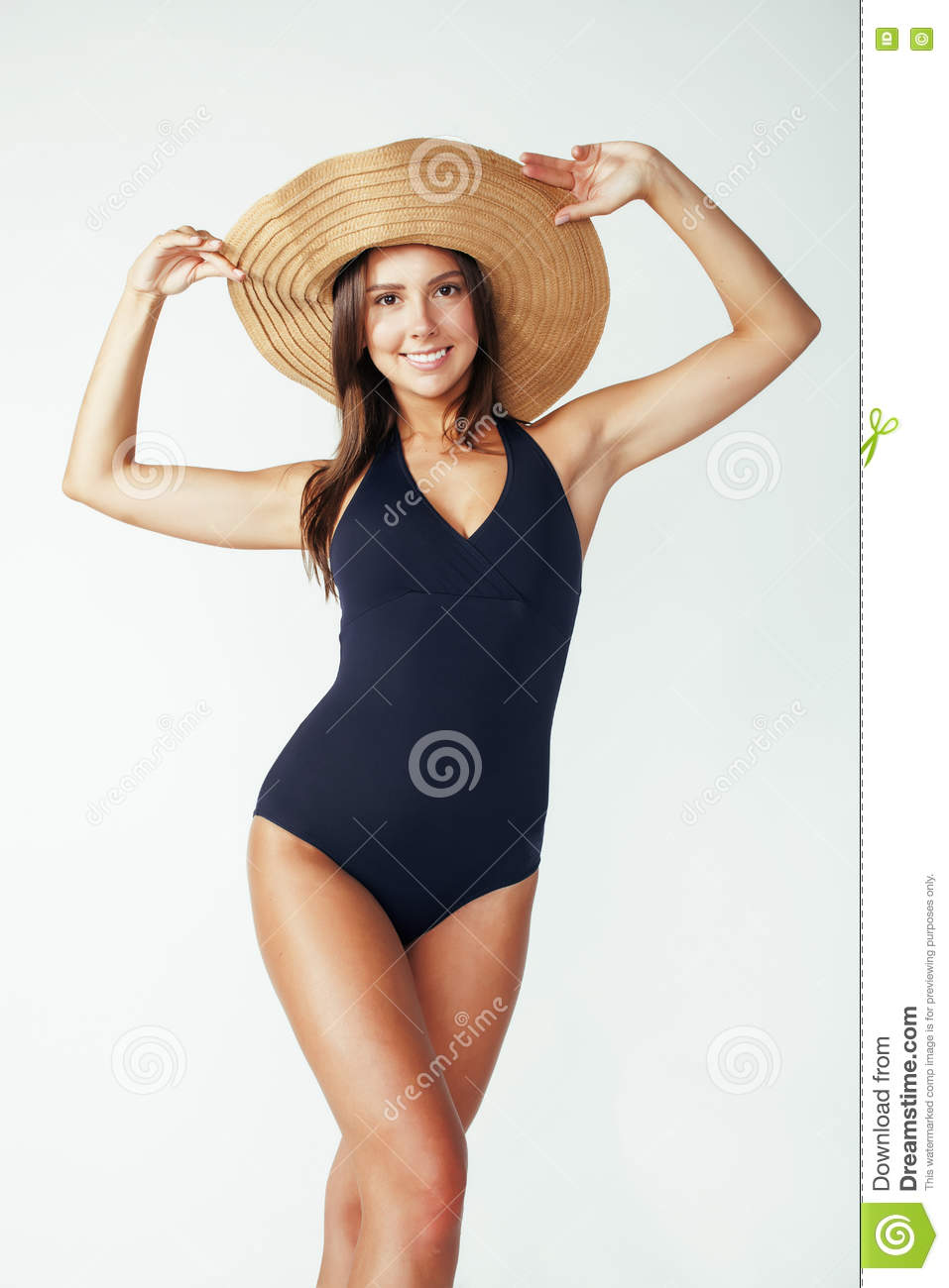 fc4200e9 Young Pretty Brunette Woman Wearing Summer Hat And Swimsuit Isolated ...