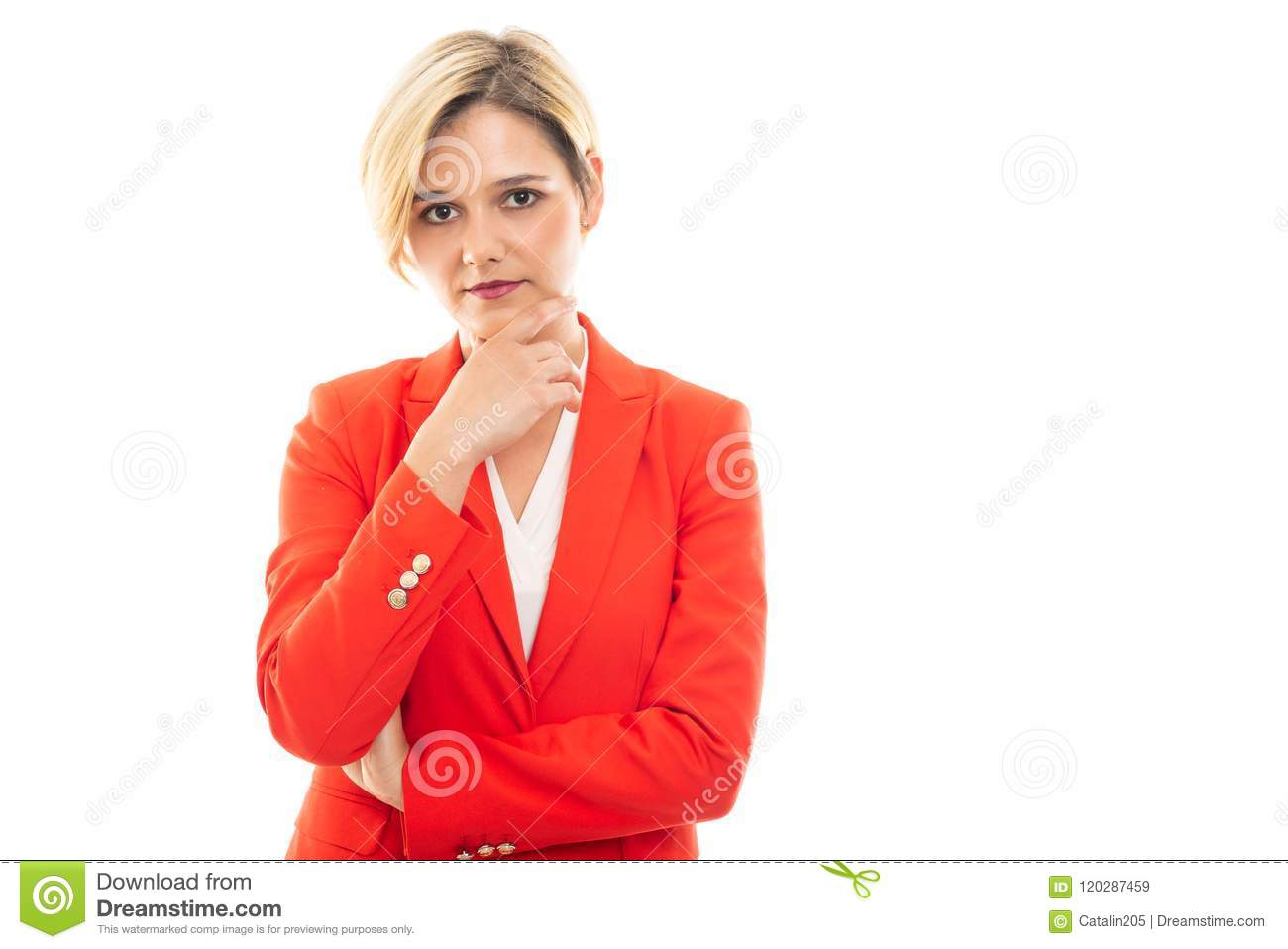 Young pretty business woman making think gesture