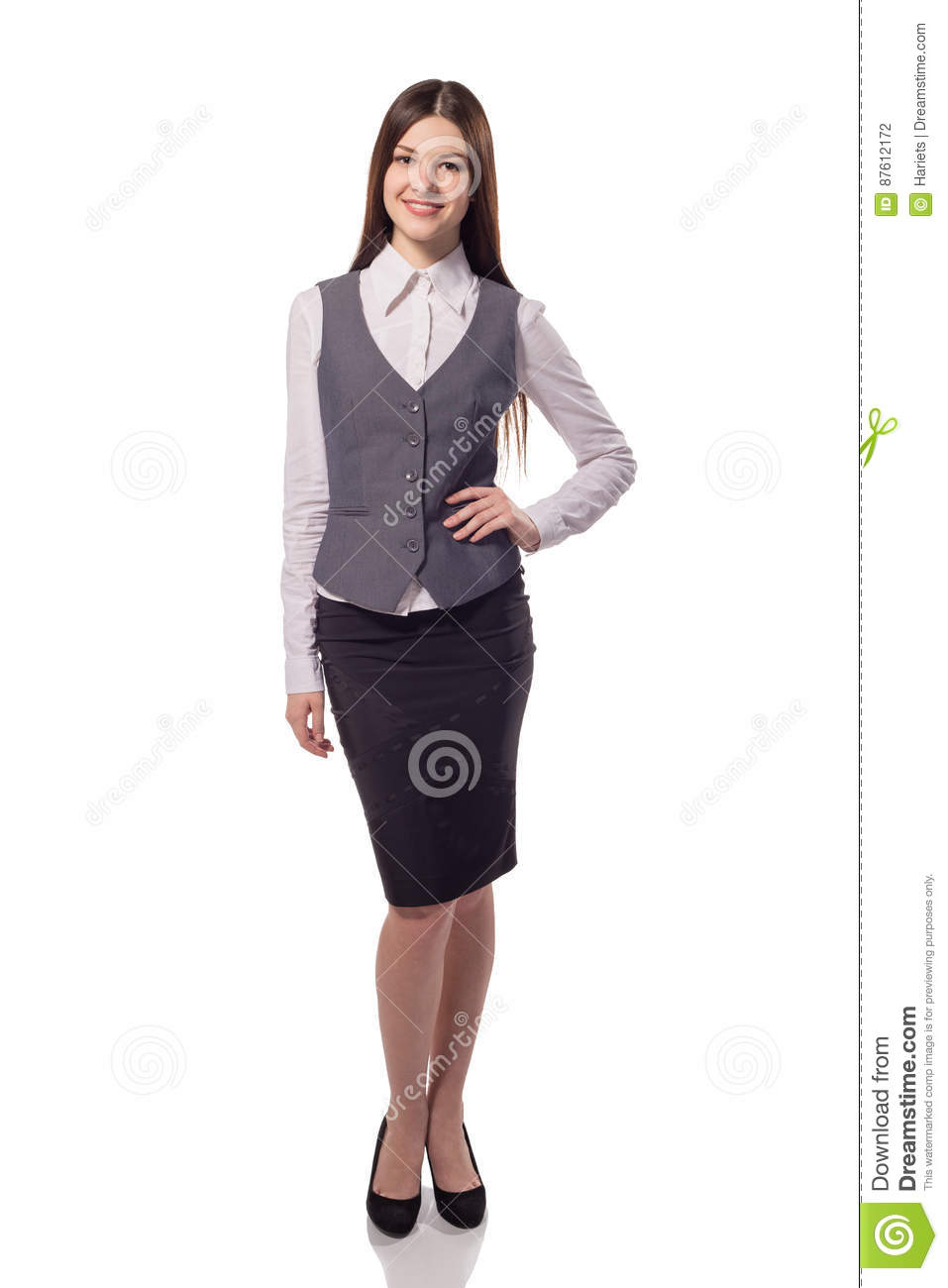Young pretty businesswoman isolated. Full height portrait