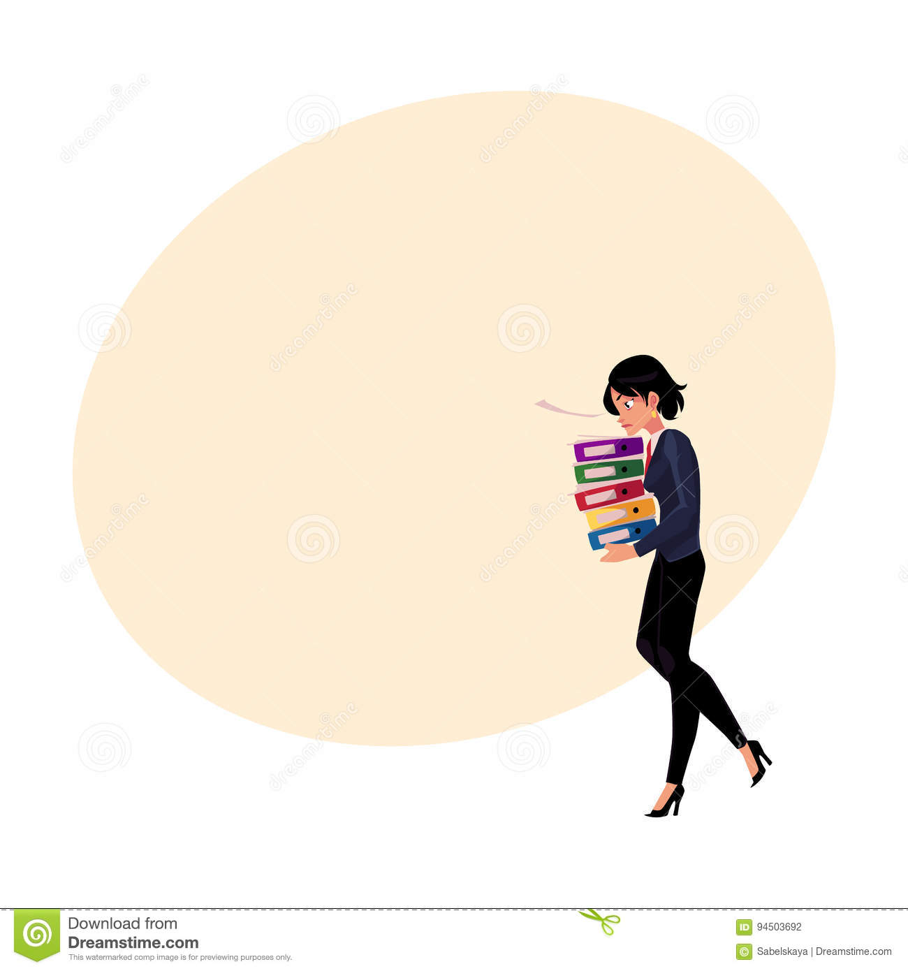 Young pretty businesswoman, woman, girl carrying pile of document folders