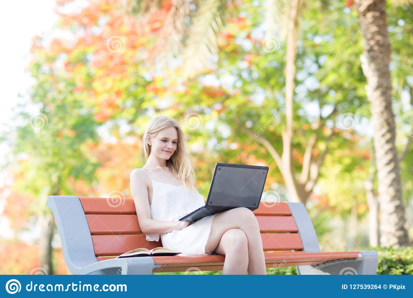 Beautiful woman sitting on a park bench using a laptop. Colorful trees in the background
