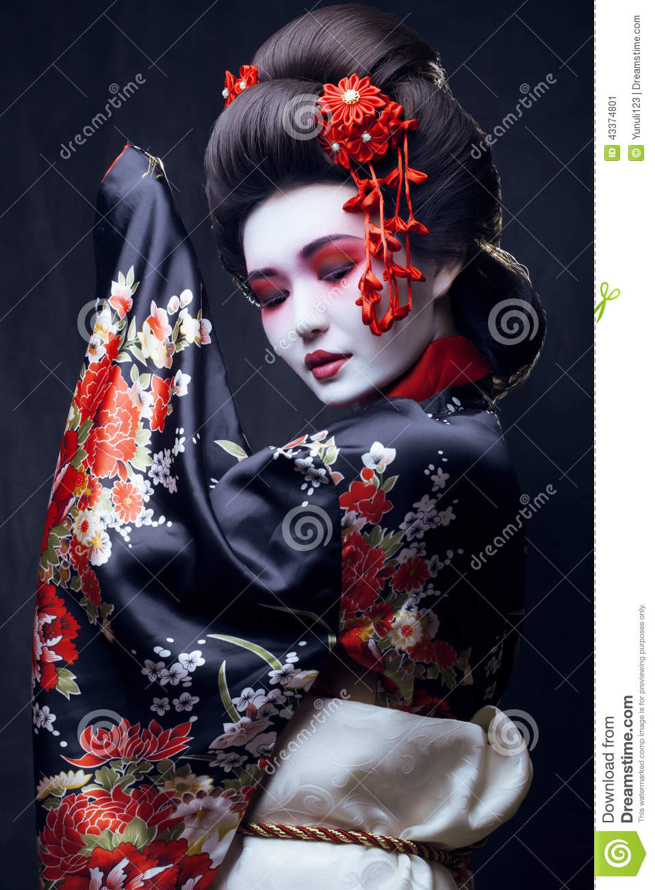 Young Pretty Geisha In Kimono Stock Photo Image 43374801