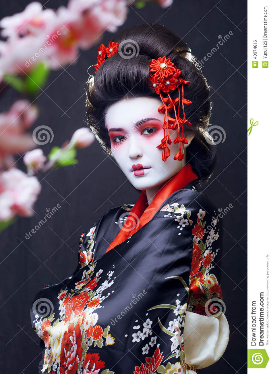 Young Pretty Geisha In Kimono Stock Photo  Image: 43374816 - Flower Girl Hairstyles
