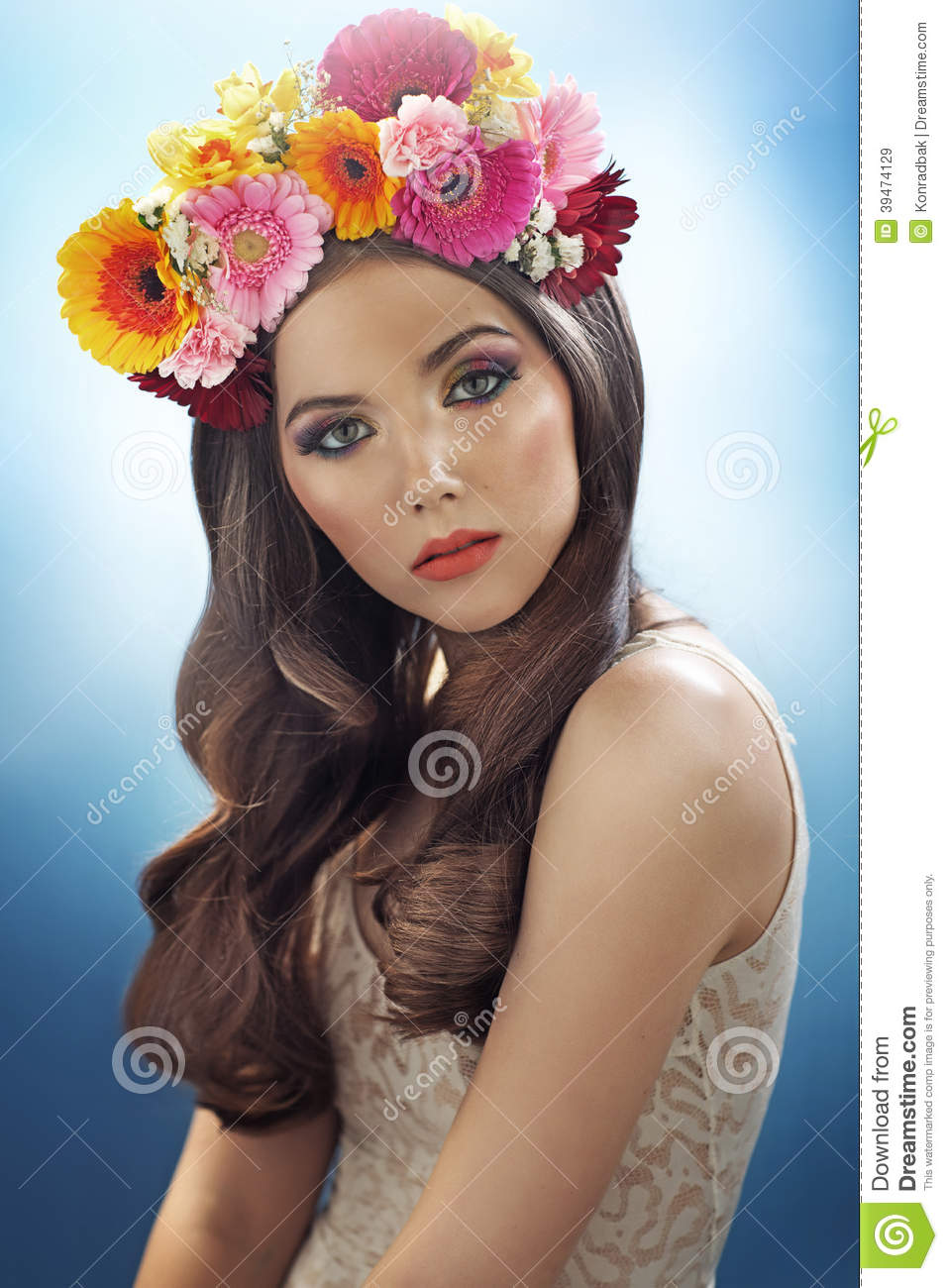 Young Pretty Girl With The Flower Hat Stock Image - Image of ... 2a62467335e
