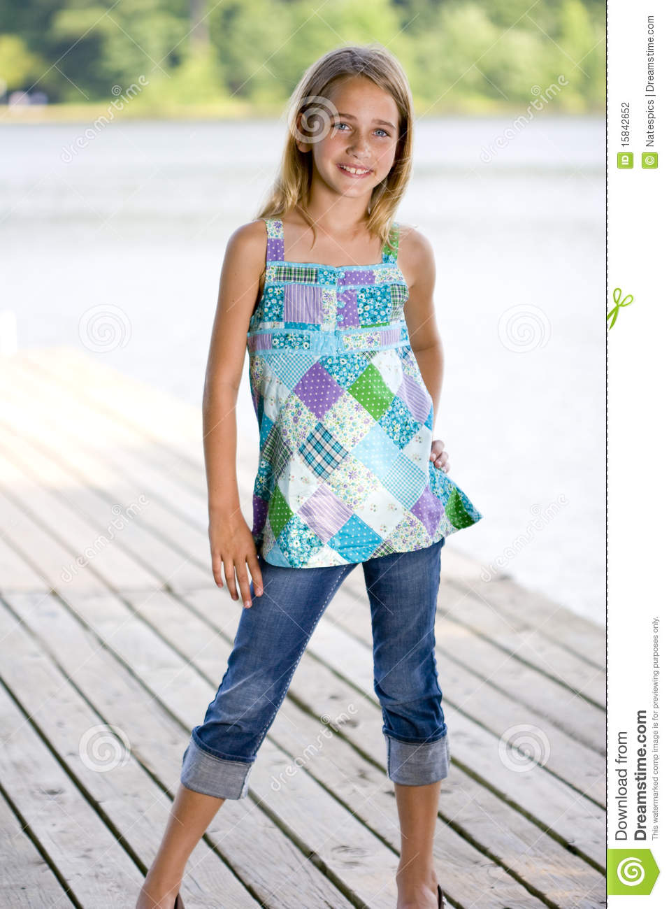 young pretty girl standing on a dock stock photo image of tween child 15842652. Black Bedroom Furniture Sets. Home Design Ideas